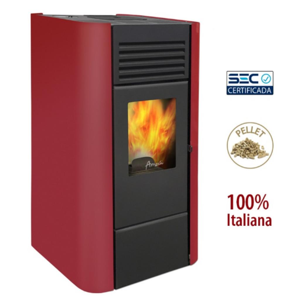 Estufa a pellet Amesti modelo Milano color rojo italiano